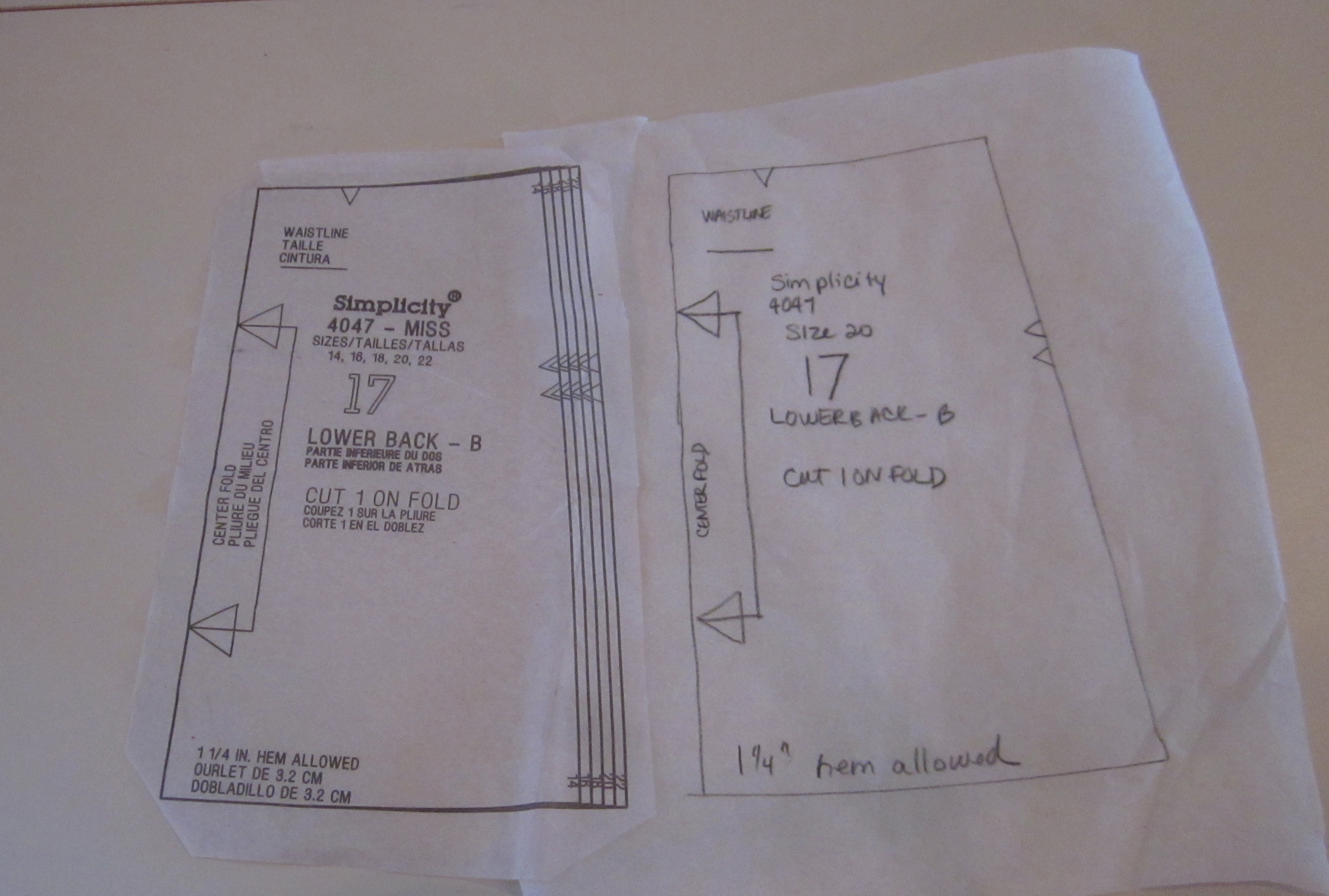 Using Tracing Paper on a Sewing Pattern
