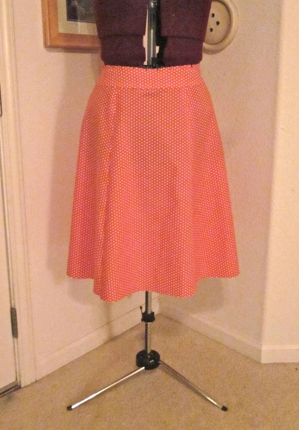 Polka dot skirt in progress