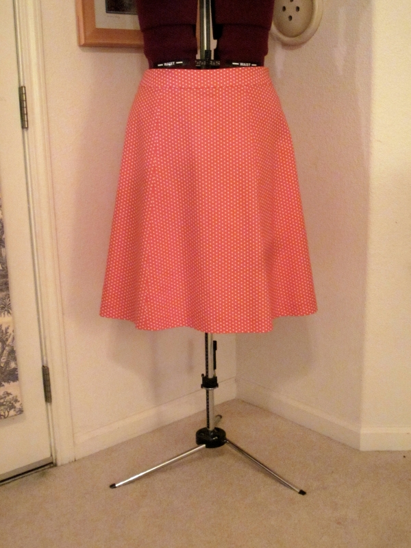 Finished polka dot skirt