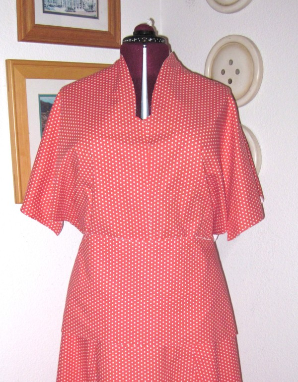 Unfinished polka dot top on dress form
