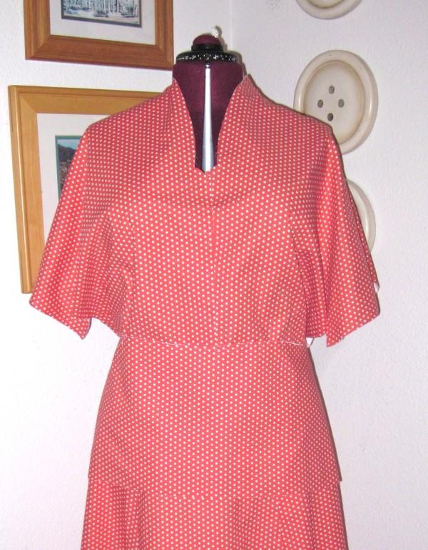 Unfinished polka dot top on dress form