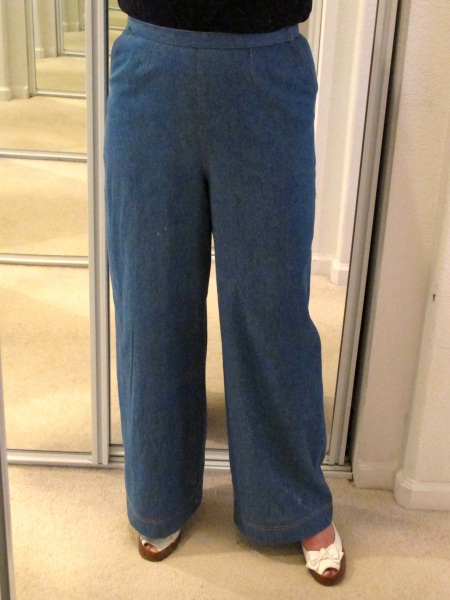 Wide-leg denim trousers from Simplicity 3688.