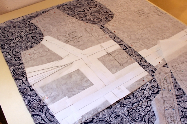I traced the pattern with Swedish Tracing Paper but ran out when it was time to make the alterations.