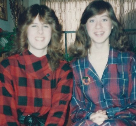 This was taken during Christmas break 1985, my freshman year of college. I'm on the right, in a shirtdress I made. Not bad plaid matching, I must say. On the left is my friend Melissa.
