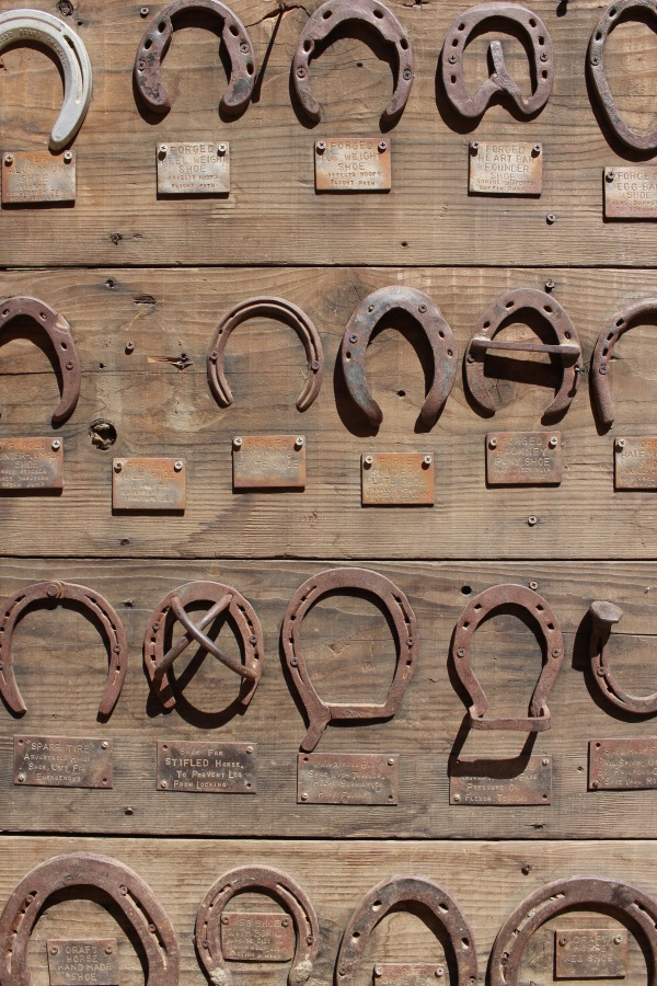 "But the ""Old West"" is not extinct. There's always a blacksmith at the fair, showing off his craft. Here are sample horseshoes. This, too, is California."